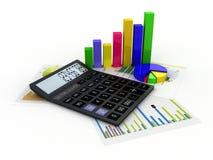 Taschenrechner, Finanzberichte und Grafiken Stockbild
