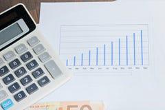 Taschenrechner, graphyc auf dem Tisch Stockfoto
