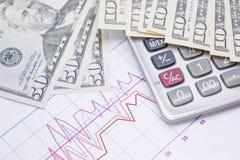 Taschenrechner mit Banknoten 10 Dollar, 50 Dollar für Geschäft Stockfotografie