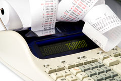 Taschenrechner mit dem sehr langen Empfang Lizenzfreie Stockbilder