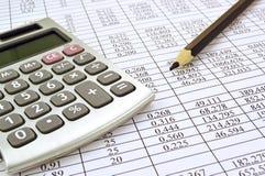 Taschenrechner mit Zahlen Stockfotos