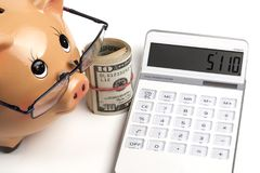 Taschenrechner und Dollar Rollen- Stockbild