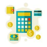 Taschenrechner und Geld Lizenzfreie Stockbilder
