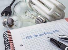 Taschenrechner und Geld nahe bei einer Glühlampe, schreibend in Tagesordnungsjahr 2018, um Birnen des niedrigen Verbrauchs zu kau Lizenzfreie Stockfotografie
