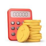 Taschenrechner und goldene Münzen Stockbilder
