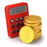Taschenrechner und goldene Münzen Stockfotos
