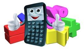 Taschenrechnermann und Mathesymbole Stockbild