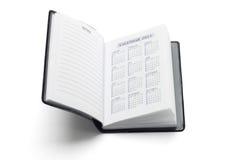 Taschentagebuch, das Kalender 2011 zeigt Lizenzfreie Stockfotos