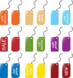 Tase y las escrituras de la etiqueta marcan conjuntos con etiqueta Imagen de archivo libre de regalías