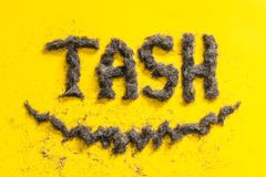 Tash word made from beard trimmings Royalty Free Stock Images