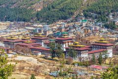 Tashichho Dzong, also known as the Dzong of Thimphu royalty free stock image