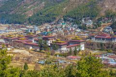 Tashichho Dzong, also known as the Dzong of Thimphu royalty free stock photo