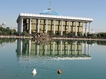 Tashkent Majlis & pond 2007 Stock Photo