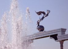 Tashkent Sculptures of storks and fountain 2007 Stock Images