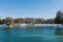 Tashkent, Uzbekistan. December 2019. Reservoir Komsomol lake in the national Park of Uzbekistan in winter on a Sunny day