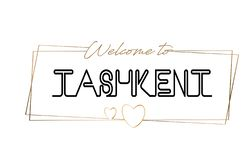 Tashkent  Welcome to text Neon lettering typography. Word for logotype, badge, icon, postcard, logo, banner Vector Illustration royalty free stock photo