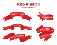 Tasiemkowej ikony ustalony czerwony kolor na białym tle Bożenarodzeniowy majcher i dekoracja dla app i sieci Etykietka, odznaka i Zdjęcia Royalty Free