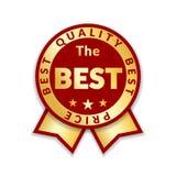 Tasiemkowej nagrody ceny najlepszy etykietka Złocistej tasiemkowej nagrody ikony odosobniony biały tło Najlepszy ilości złoty pro royalty ilustracja