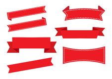 Tasiemkowi sztandary, czerwień set dekoracje ?wi?teczne ekologicznego drewna wektor royalty ilustracja