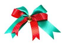 Tasiemkowy łęk z małym dzwonem - odosobnionym Obraz Royalty Free