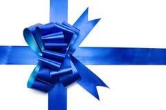 Tasiemkowy i błyszczący błękitny łęk Zdjęcia Stock
