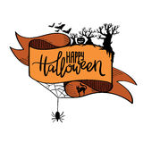 Tasiemkowy sztandar Szczęśliwy Halloween kaligrafia Zdjęcie Royalty Free