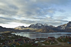 Tasiilaq, Greenland. Dramatic view of Tasiilaq, Greenland in late summer Stock Photo