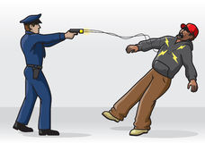 Tasing. Illustration of a police officer tasing a man Stock Image
