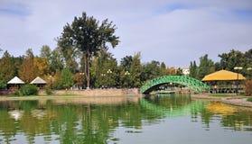 Tasjkent: staden parkerar med en kanal fotografering för bildbyråer
