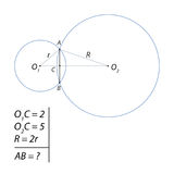 Task for calculating the total chord of two circles Stock Photos