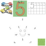 Task for children in mathematics. The figure of five. Connect dots and paint a star. Kids job vector illustration