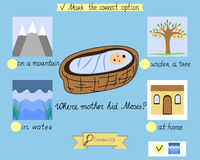 Task for the children which was hidden little Moses. A biblical story. Sunday school. Royalty Free Stock Photography