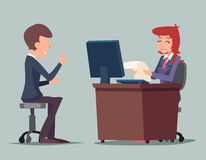 Task Conversation Job Interview Businessman at. Desk Working on Computer Cartoon Characters Icon Stylish Background Retro Cartoon Design Vector Illustration royalty free illustration