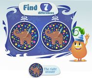 Task  find 7 differences elephant. Visual game for children and adults. Task to find 9 differences elephant Stock Photos