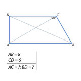 The task of finding the diagonals of the trapezium Stock Image