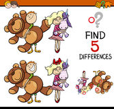 Task of finding differences. Cartoon Illustration of Finding Differences Educational Activity for Preschool Children with Kids and Toys Stock Photo