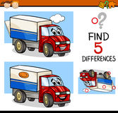 Task of finding differences. Cartoon Illustration of Finding Differences Educational Task for Preschool Children with Truck Transport Character Stock Photography