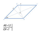 The task of finding the distance from the center of the rhombus to his hand. The acute angle A rhombus ABCD is 45 degrees, the projection of AB side to side AD Stock Image