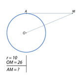 The task of finding the distance AM. The line passing through the M, 10 remote from the radius of the circle center at a distance equal to 26, tangent to the Stock Image