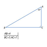 The task of finding leg and the hypotenuse in a right triangle. In a right-angled triangle ABC & x28;angle C 90 degrees& x29;, it is known that AB 4, A angle of vector illustration