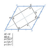 The task of finding a quadrilateral sides and angles in a rhombus Royalty Free Stock Photography