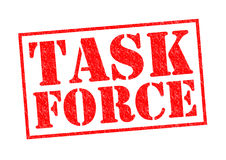 TASK FORCE. Red Rubber Stamp over a white background stock photos