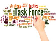 Task Force word cloud hand writing concept. On white background stock photography