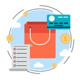 Task list, shopping, credit card vector concept Royalty Free Stock Photography