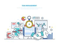 Task management, productivity, planning, coordination. Time management, business analysis, research. Task management, productivity, planning, coordination Stock Photography