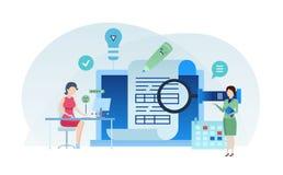 Task management, teamwork, project management, work people team, planner meeting. Task management, production calendar, document flow system. Multitask stock illustration