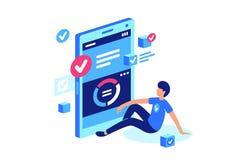 Task manager, mobile work, online system. Young man remotely do, perform job. Vector illustration vector illustration