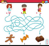 Task of path maze for children. Cartoon Illustration of Educational Paths or Maze Puzzle Game for Preschoolers with Children and Sweets Royalty Free Stock Photo