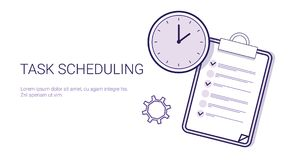 Task Scheduling Effective Planning Concept Time Management Template Web Banner With Copy Space. Vector Illustration Stock Photography