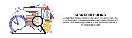 Task Scheduling Planning Concept Horizontal Banner With Copy Space. Vector Illustration Stock Photo